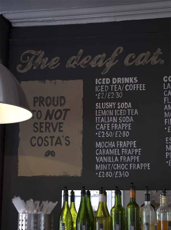 The menu at Deaf Cat Coffee, Rochester