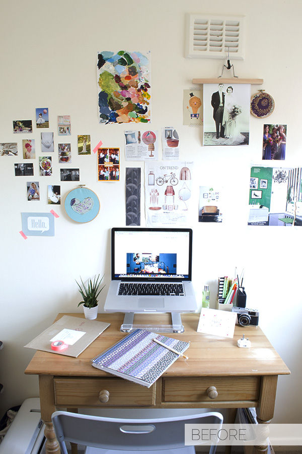 My minimal workspace before the makeover!