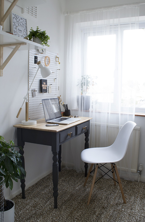 Scandi inspired, minimal workspace makeover featuring DIY desk, Zara Home rug and peg board