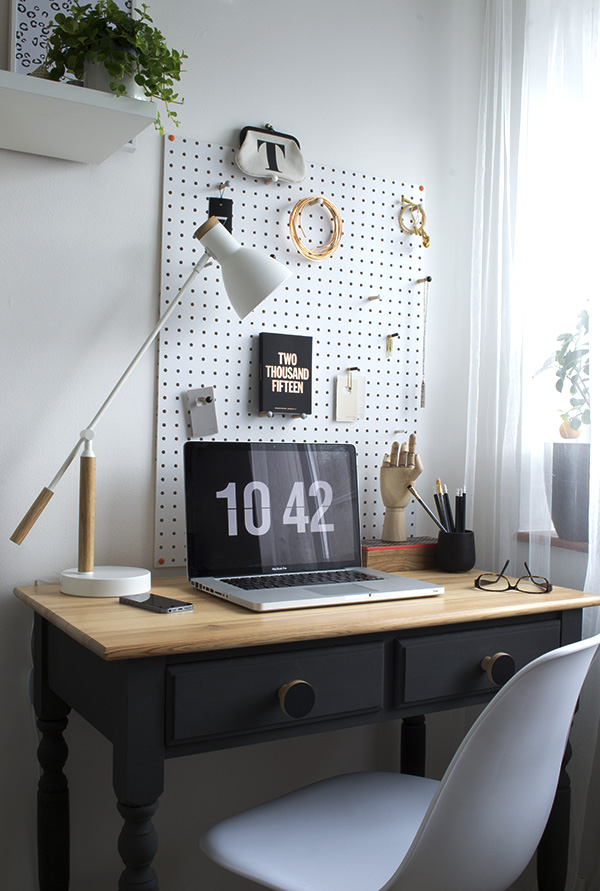 Minimal workspace makeover featuring DIY desk, Block peg board and Made.com desk lamp