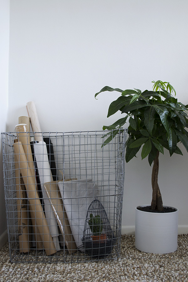 West Elm Wire Basket in my Scandi inspired, minimal workspace
