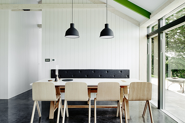 Dining space of minimalist holiday home in the Wye Valley Monmouthshire, The Chickenshed, Muuto design.
