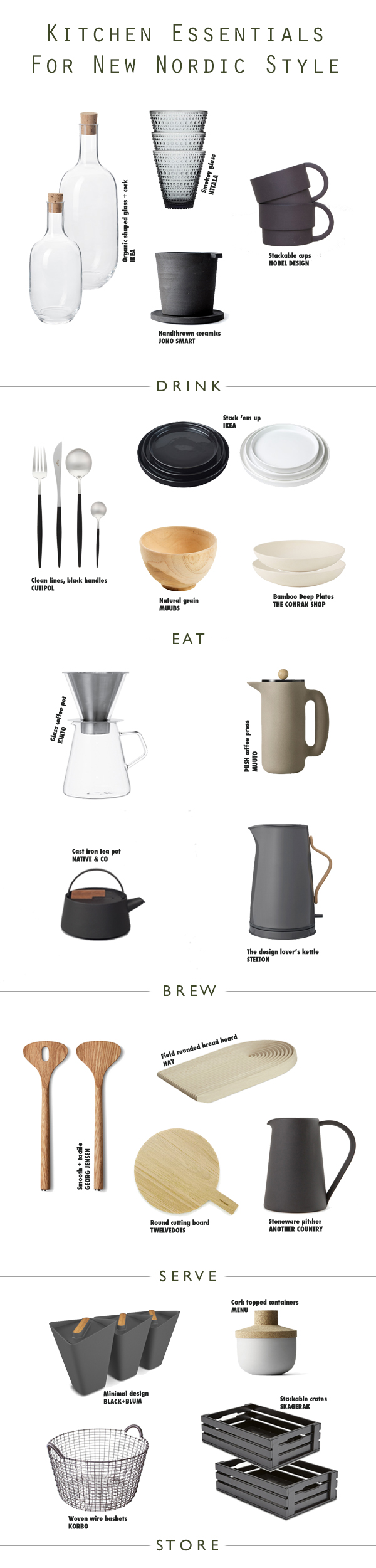 Essential kitchen accessories for Scandinavian New Nordic Styling