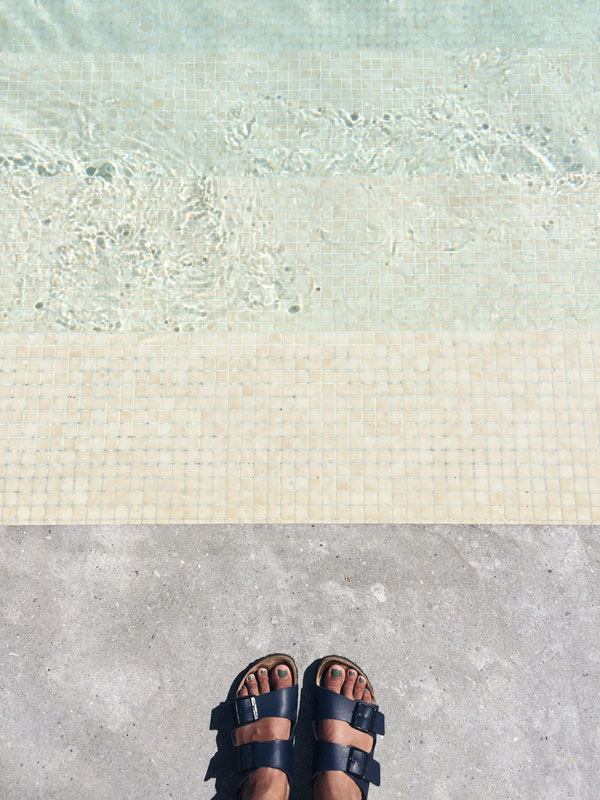 Poolside at the Alexandra Hilton Hotel, Barcelona on our Spanish design tour.
