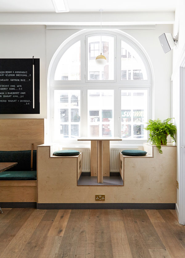 Dean Street Cafe in London's Soho, run by Centrepoint charity and designed by Nina+Co Design