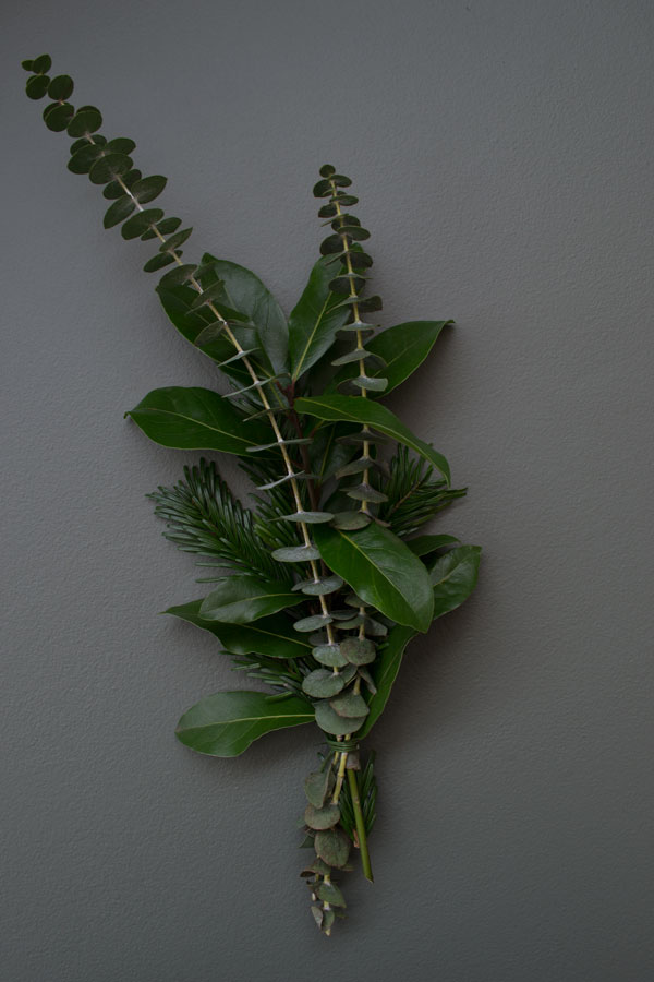 A selection of Bay tree cuttings, Eucalyptus and Fir tree cuttings to create a minimal Christmas wreath