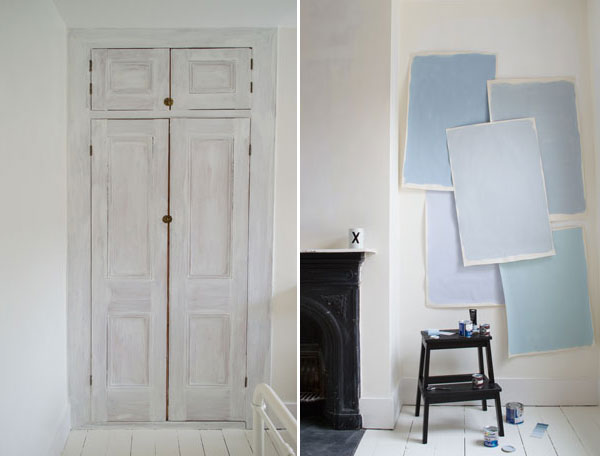 Preparing the cupboard doors for painting and choosing the perfect grey-blue shade for the modern Scandi kids bedroom makeover