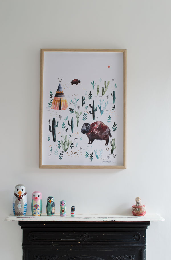 Bisson print and original Victorian fireplace in our modern Scandi kids bedroom