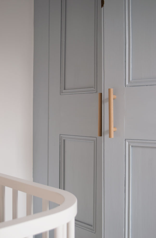 Original Victorian cupboard painted in Dulux's 'Celestial Blue' in our modern Scandi kids bedroom