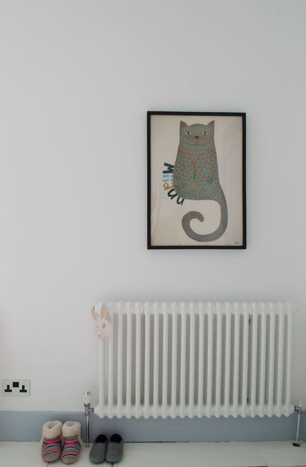 Radiator and cat print in our modern Scandi kids bedroom