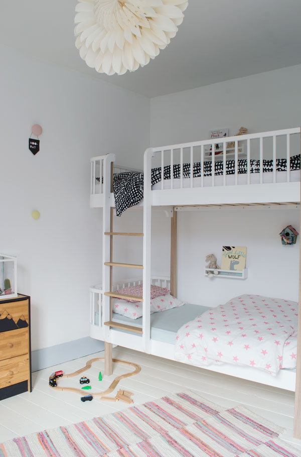 Oliver Furniture bunk beds from Nubie in our modern Scandi kids bedroom