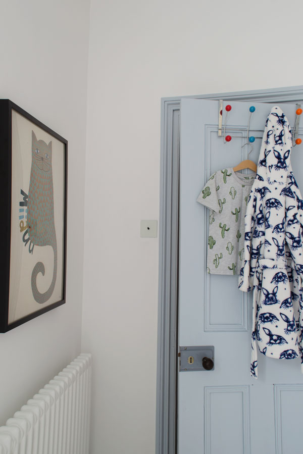 Dulux 'Celestial Blue' door in our modern Scandi kids bedroom