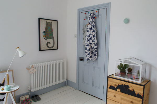 Door painted in 'Celestial Blue' by Dulux in our modern Scandi kids bedroom
