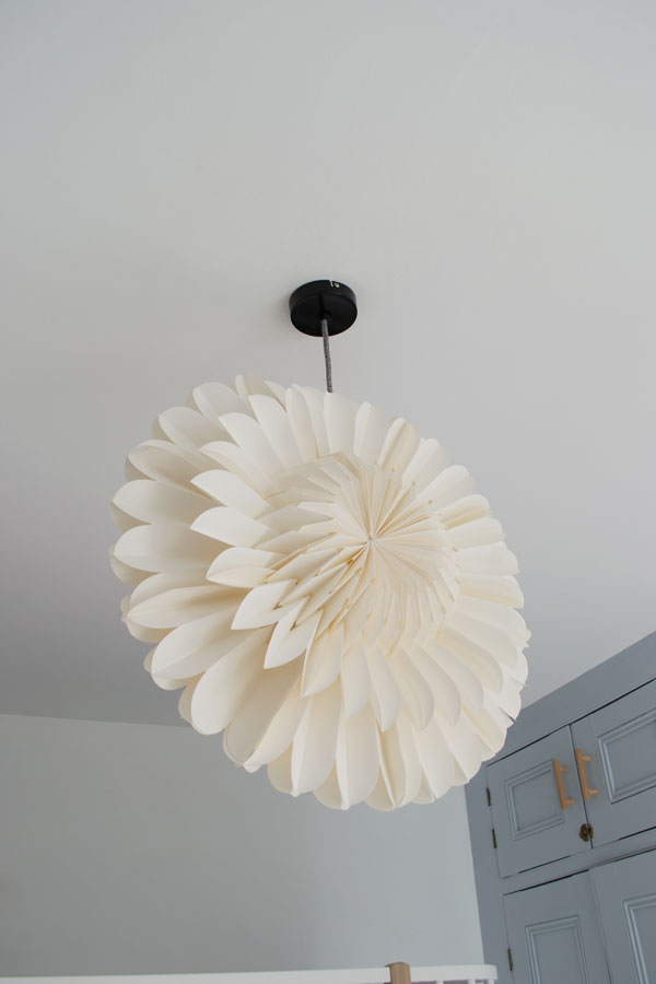 Light fittings and fabric flex from Dowsing & Reynolds in our modern Scandi kids bedroom