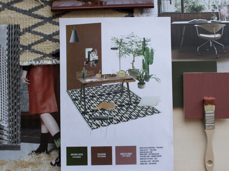 Moodboard of my original window styling concept for Heal's British Designers