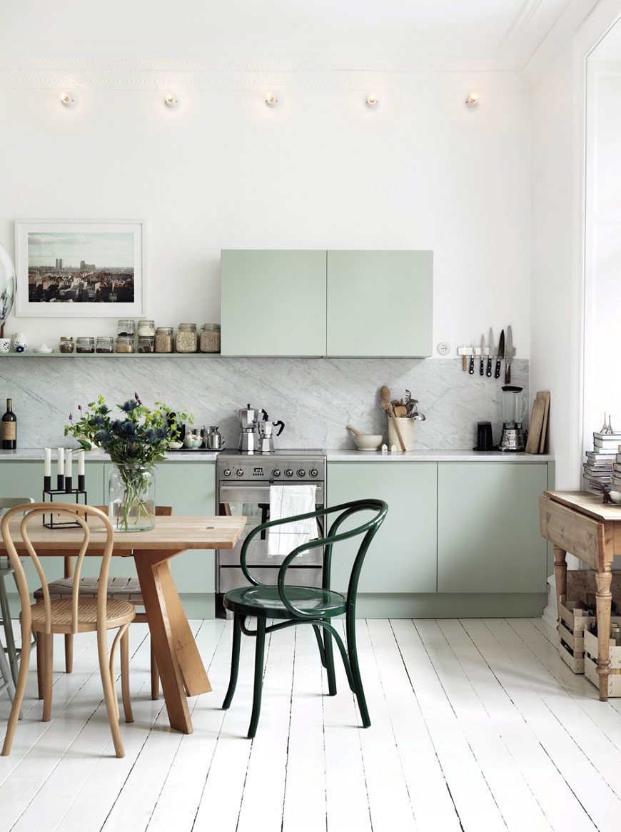 hot to use colour in a minimalist home, pale mint green kitchen cupboards, photography © Petra Bindel