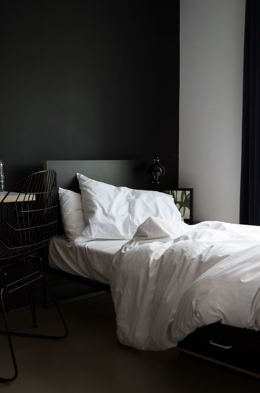 Super sharp decor, clean lines with plywood and wire furniture make up the rooms at Kip Hotel, London