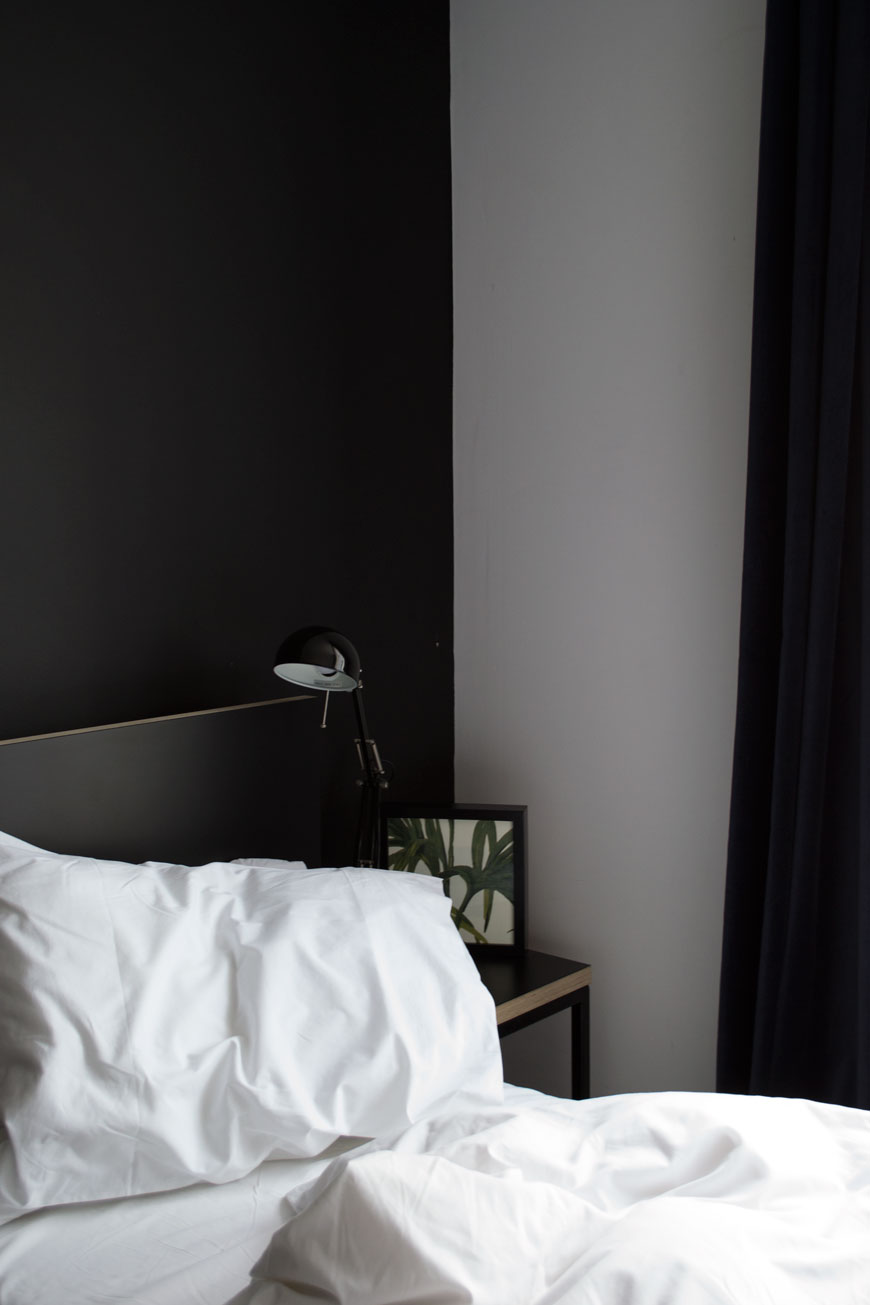 Monochrome, minimal design in the 'Kip Buddy' room at Kip Hotel, London