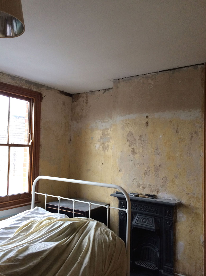 bedroom renovations, plastering the walls in our Edwardian home.