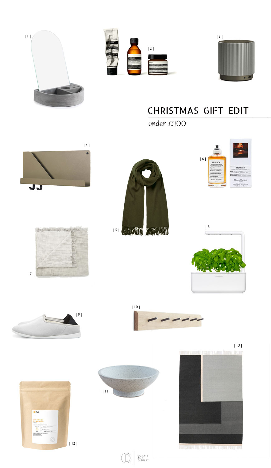 Christmas gift edit, Christmas gift guide, Christmas gifts under £100, gift guide.