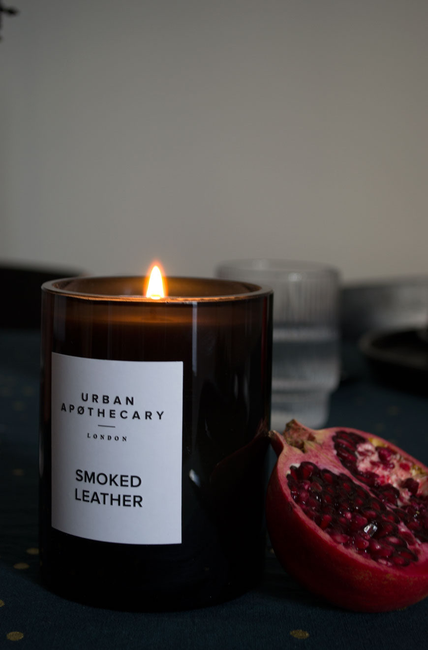 Setting the scene for a moody and minimal Christmas table setting with the heady scent of Smoked Leather by Urban Apothecary
