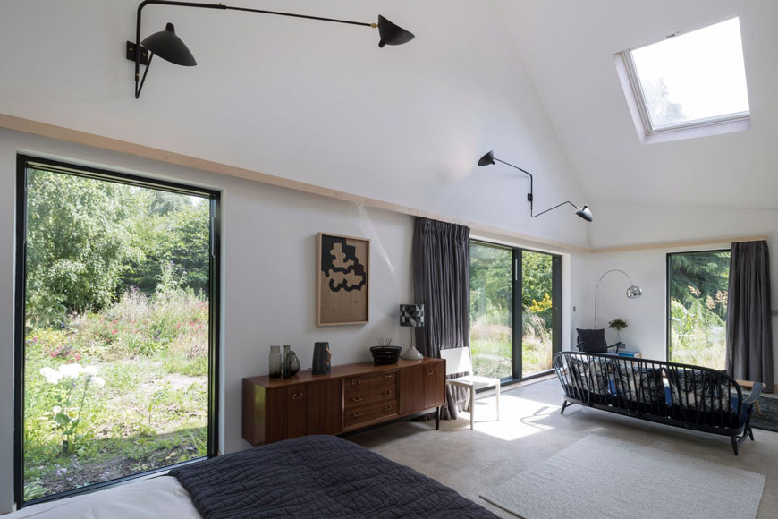 unique architectural holiday home experience, Five Acre Barn, Suffolk, mid-century modern accomodations