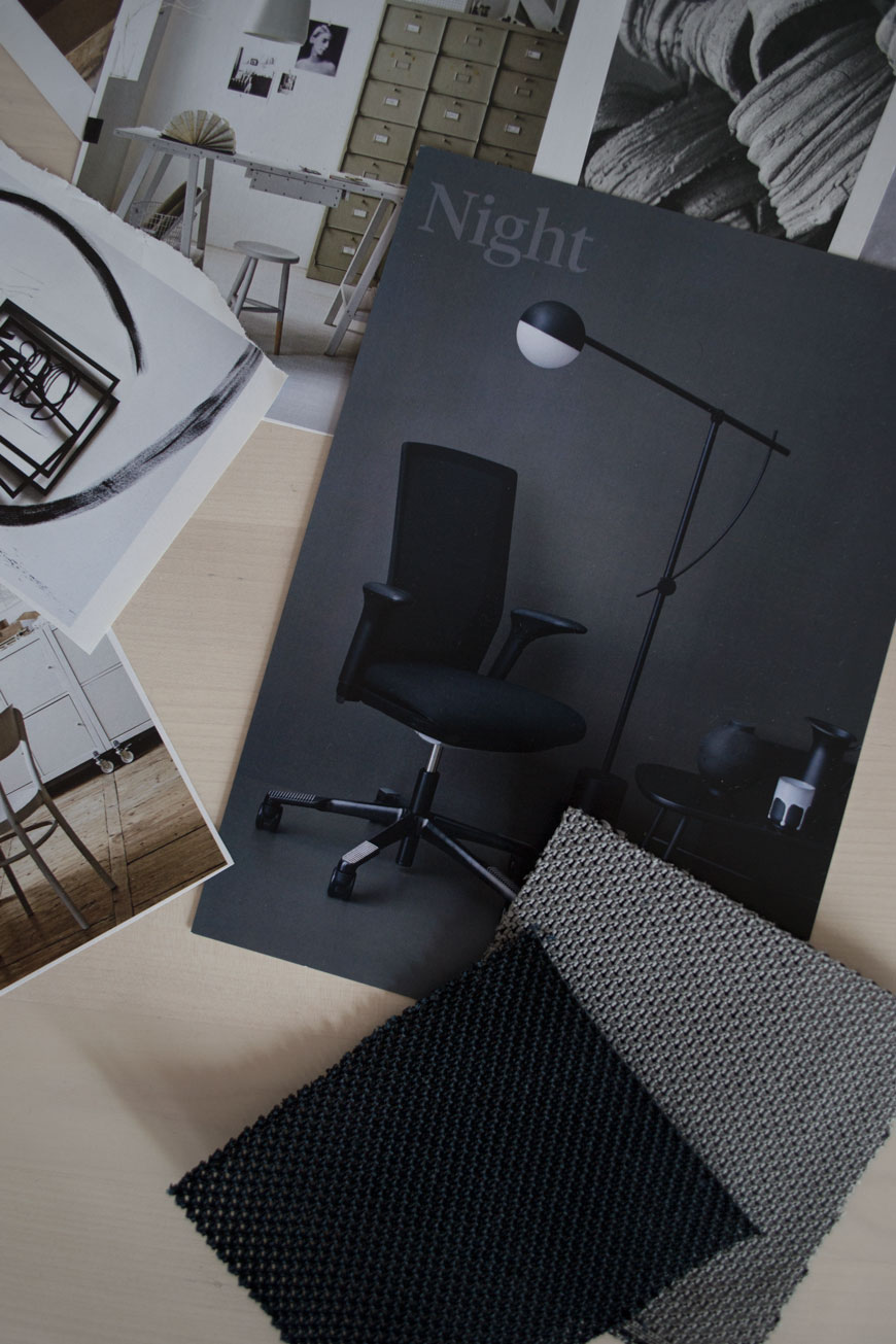 Home office, office design ideas, working from home, office decor, workspace, moodboard, HÅG Futu mesh chair, Nordic office furniture, black office chair, Norwegian furniture design