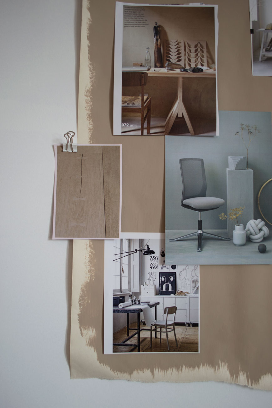 inspirational home office moodboard with minimal Scandinavian designs