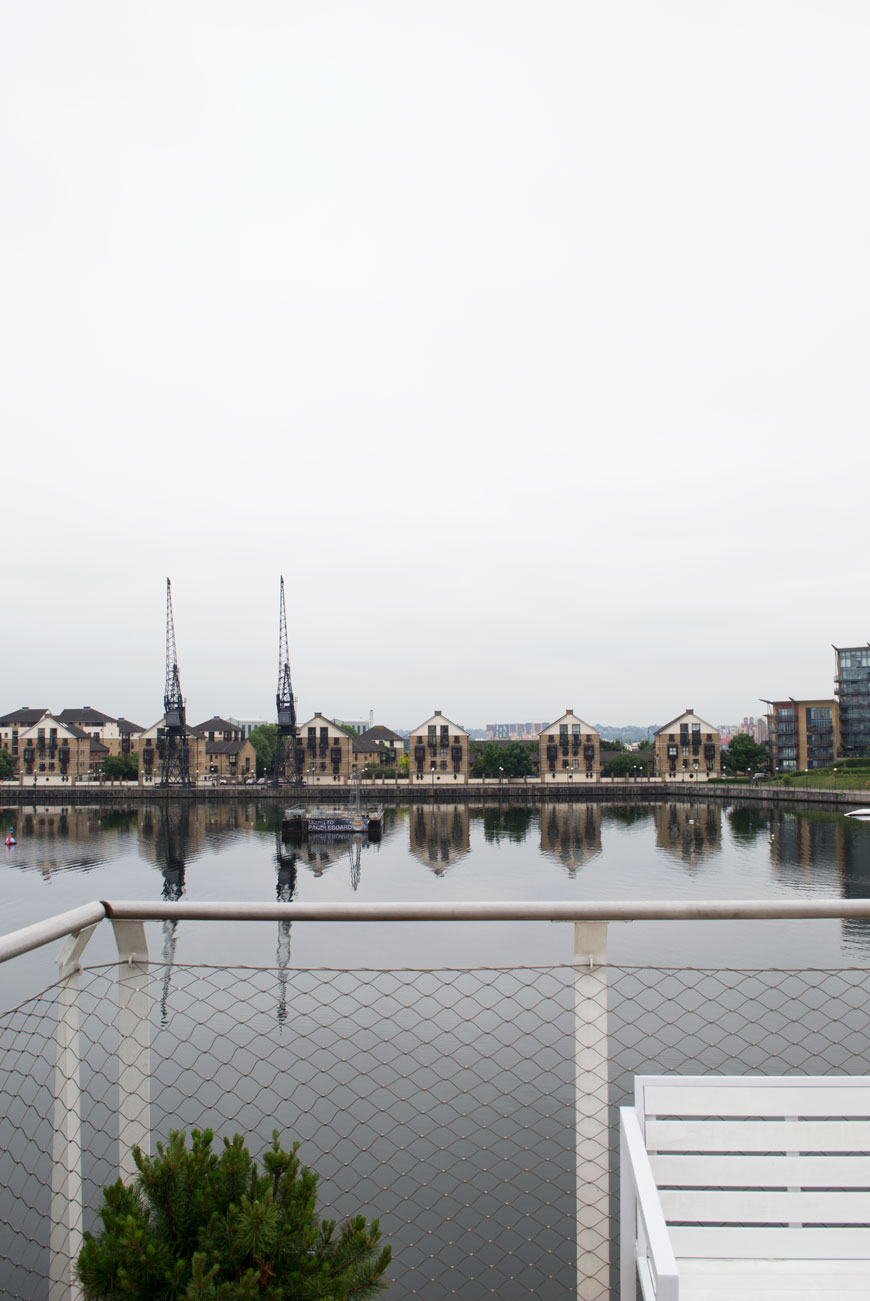 The view from the roof bar at The Good Hotel London on Royal Victoria Docks.