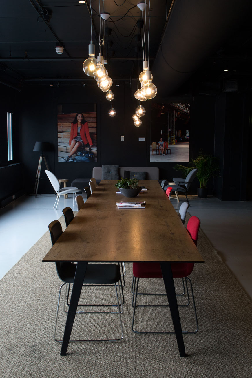 Industrial, dutch designed social spaces at Good Hotel London with communal tables for working