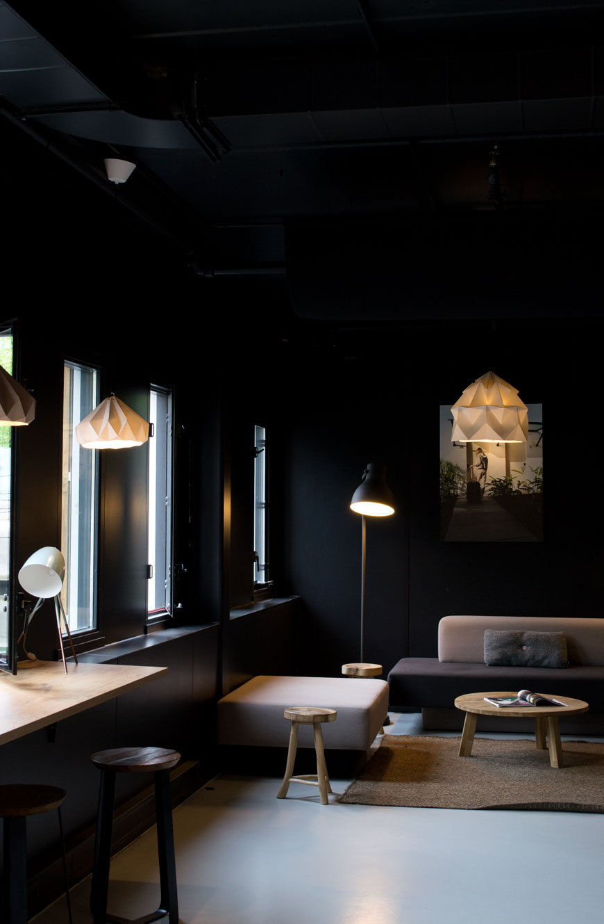 The social spaces at Good Hotel London which feature custom pieces designed by Blooey, furniture from Lensvelt and Moooi sit alongside everyday items from HEMA.
