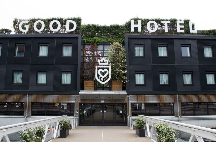 An outside look at The Good Hotel London which can be found on London's Royal Victoria Docks.