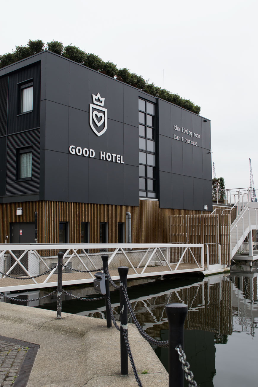 An outside view of The Good Hotel London on the Royal Victoria Docks.
