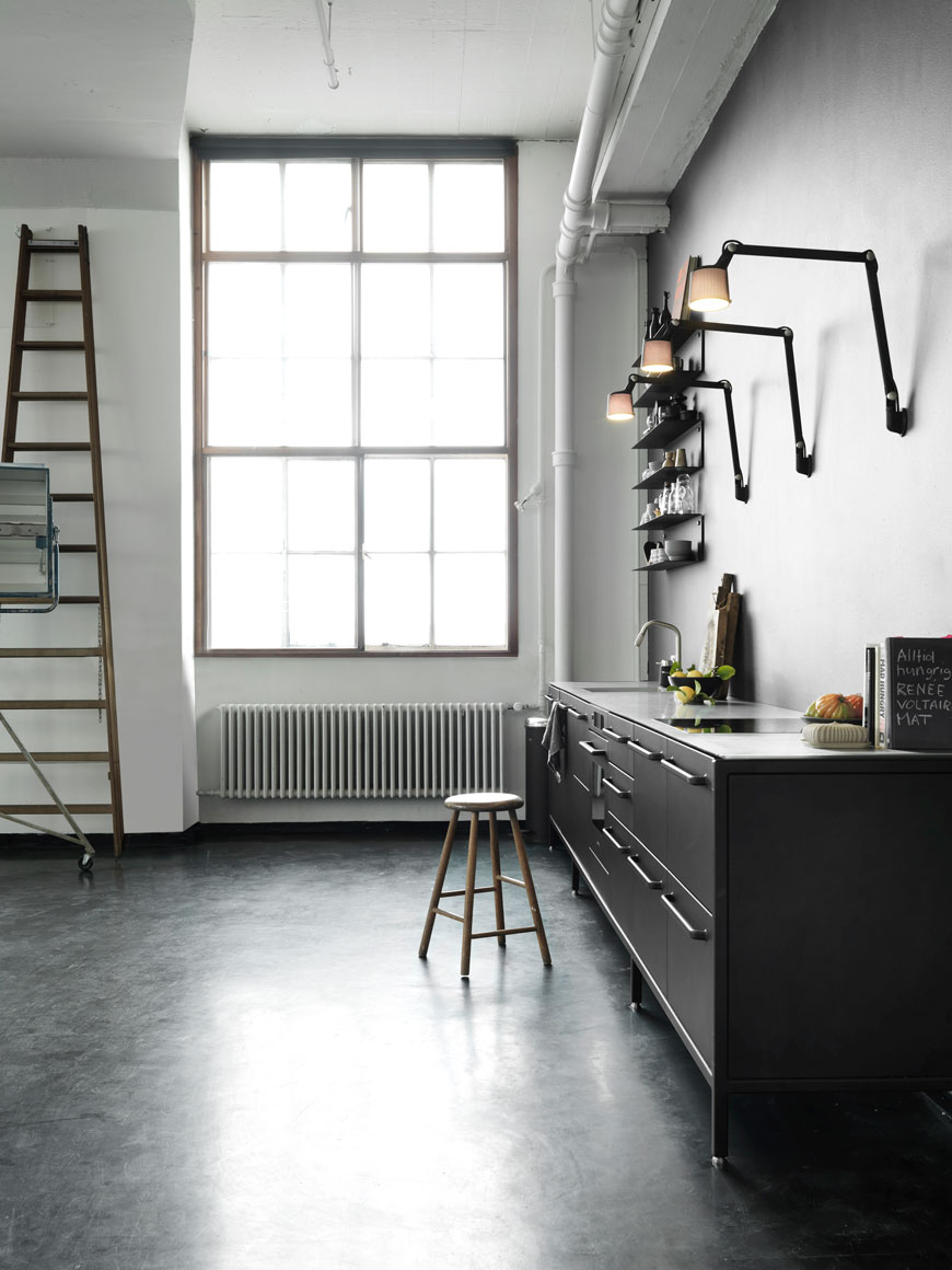 black wall lights, black wall lamps, wall lights, kitchen wall lights, swing arm lights in the kitchen, Vipp lighting, Vipp, Nordic design, black and white kitchen