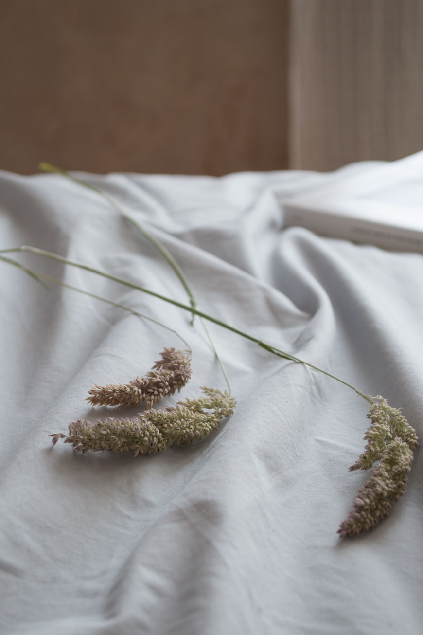 Three stems of grasses laid on grey cotton sheets on the bed
