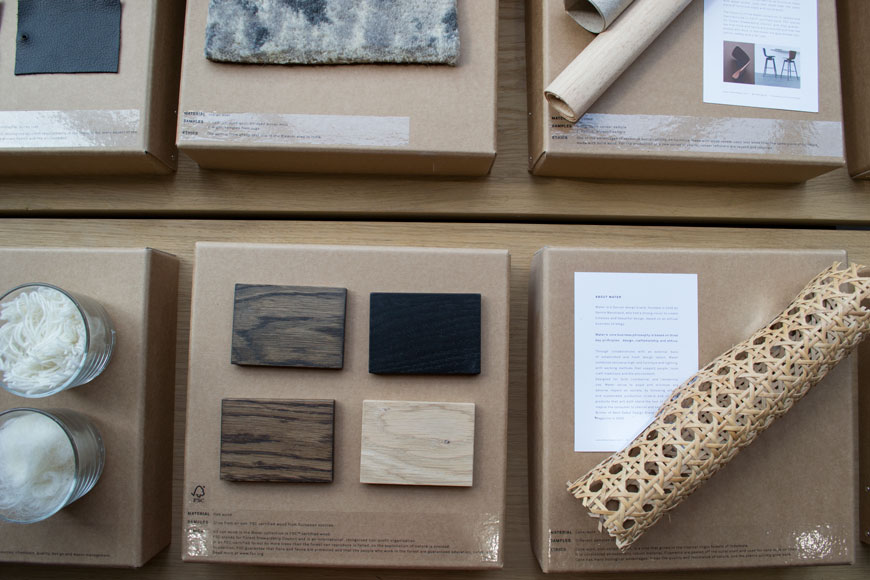 Swatches of wood, wool and wicker on display in the Mater gallery, Clerkenwell.