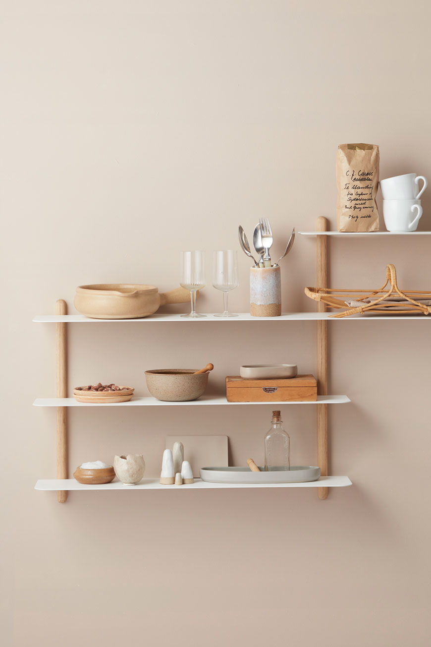 Nivo oak and white shelves styled in monochrome nude and wood tones, by Nordic design brand Gejst