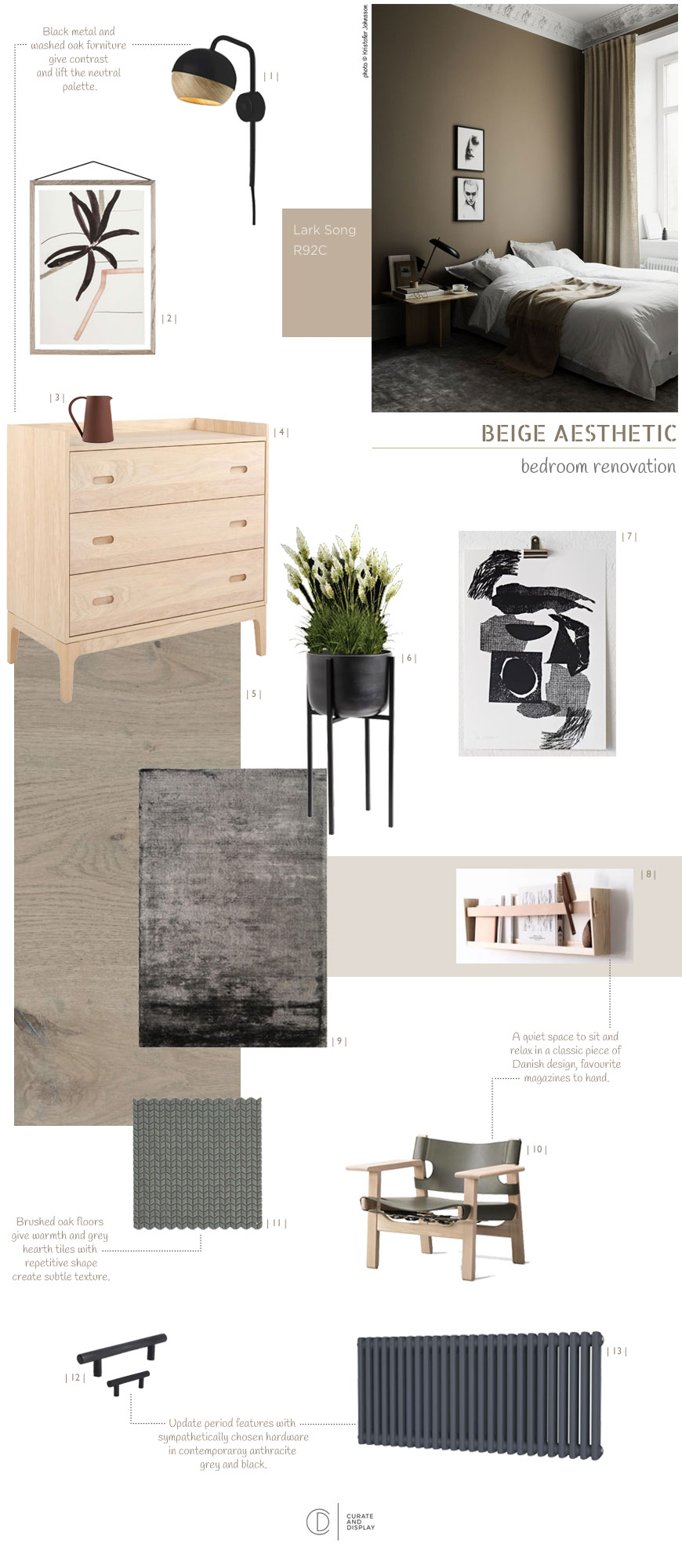 A bedroom design moodboard with a Nordic luxe style.