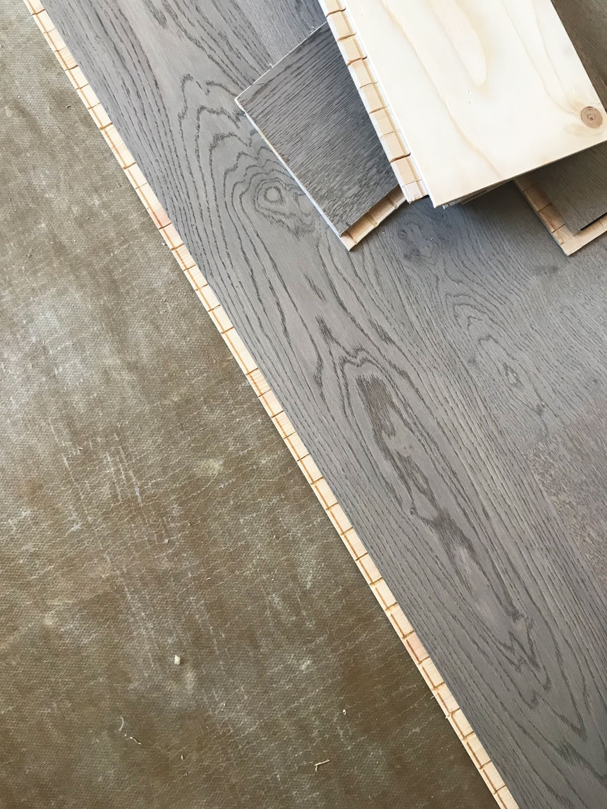Our Shadow Grey engineered oak floor click-system laid on top of the underlay
