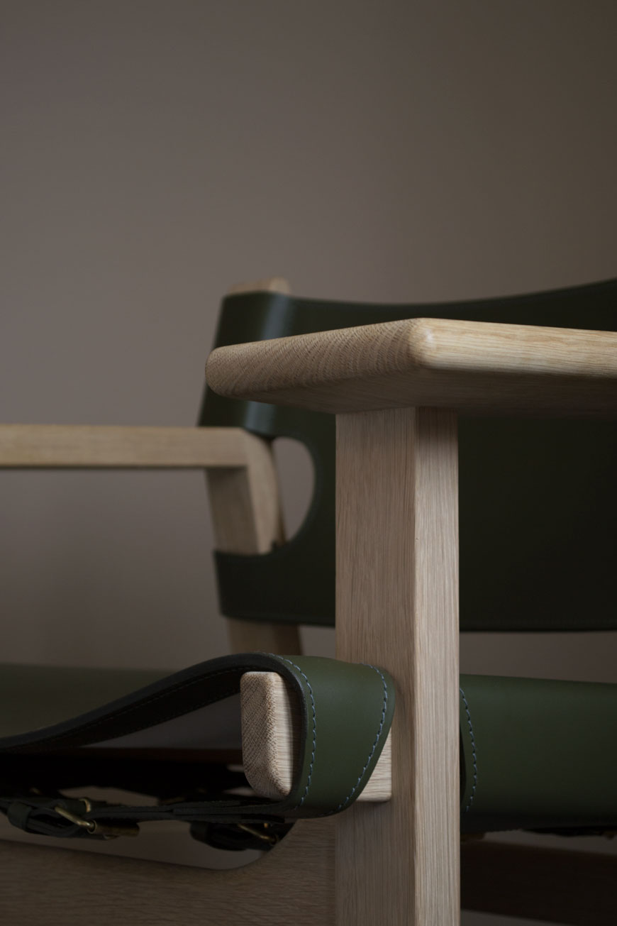 A close-up of the oak frame of The Spanish Chair, designed for Fredericia by Børge Mogensen.