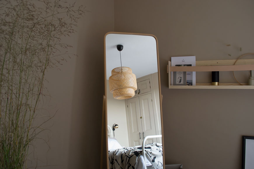 Our Nordic luxe bedroom makeover features to-tone beige walls which change according to the light levels