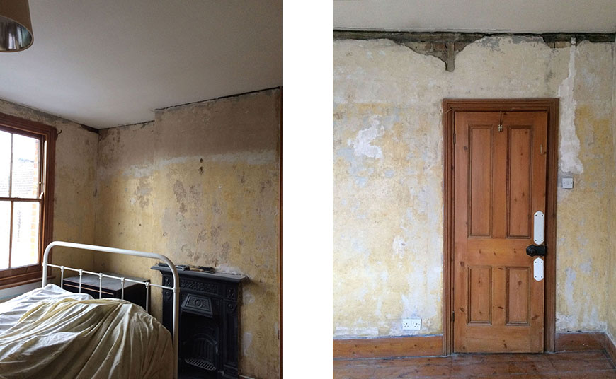 Cracked plaster walls before our Nordic luxe bedroom makeover