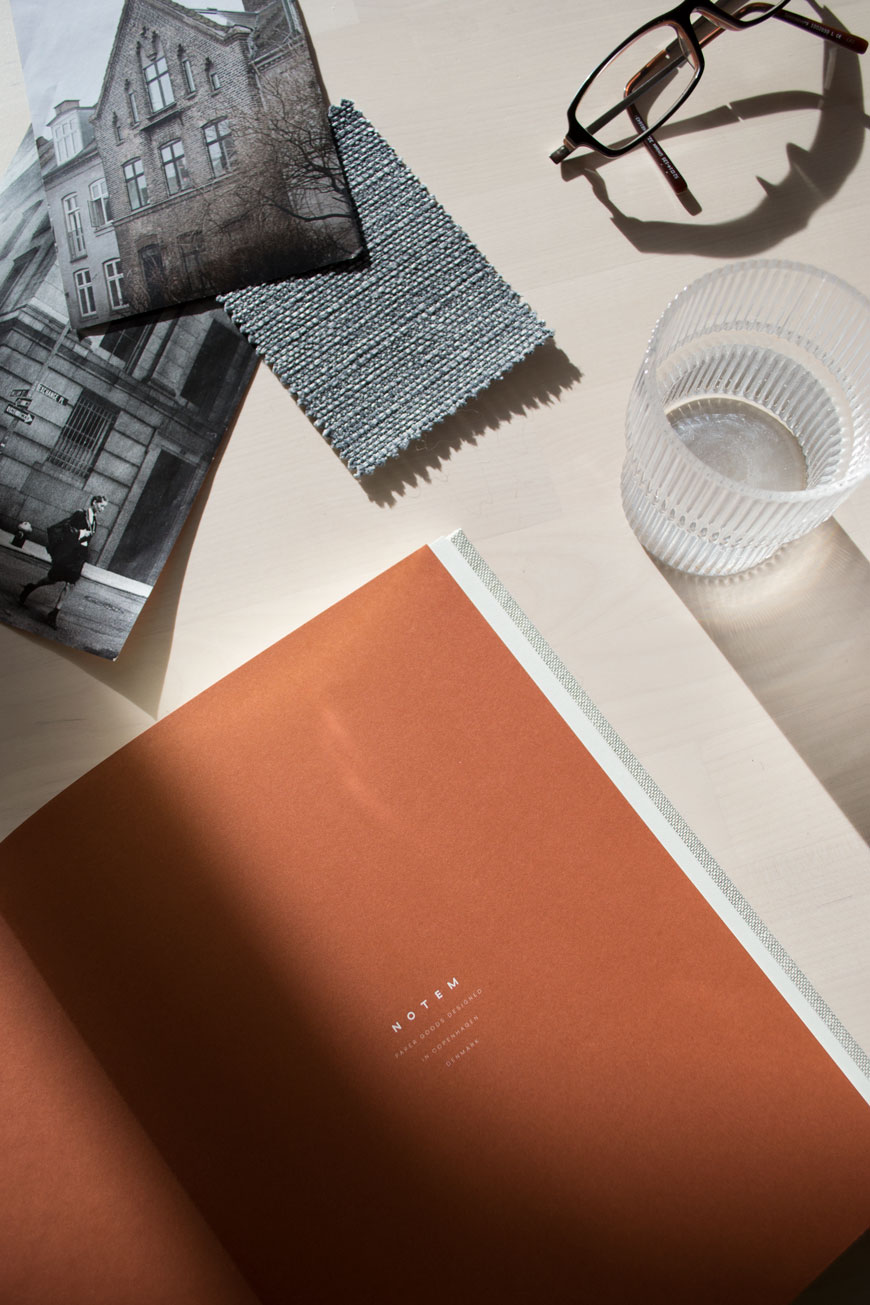 Burnt orange insert of a NOTEM journal, stationery from NABO.