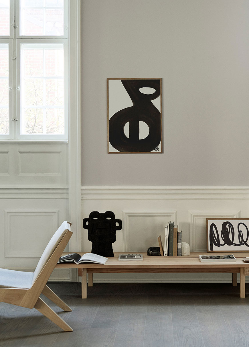 Artfully chosen abstract wall art prints, designed by Marlene Birger and styled in a Copenhagen apartment.