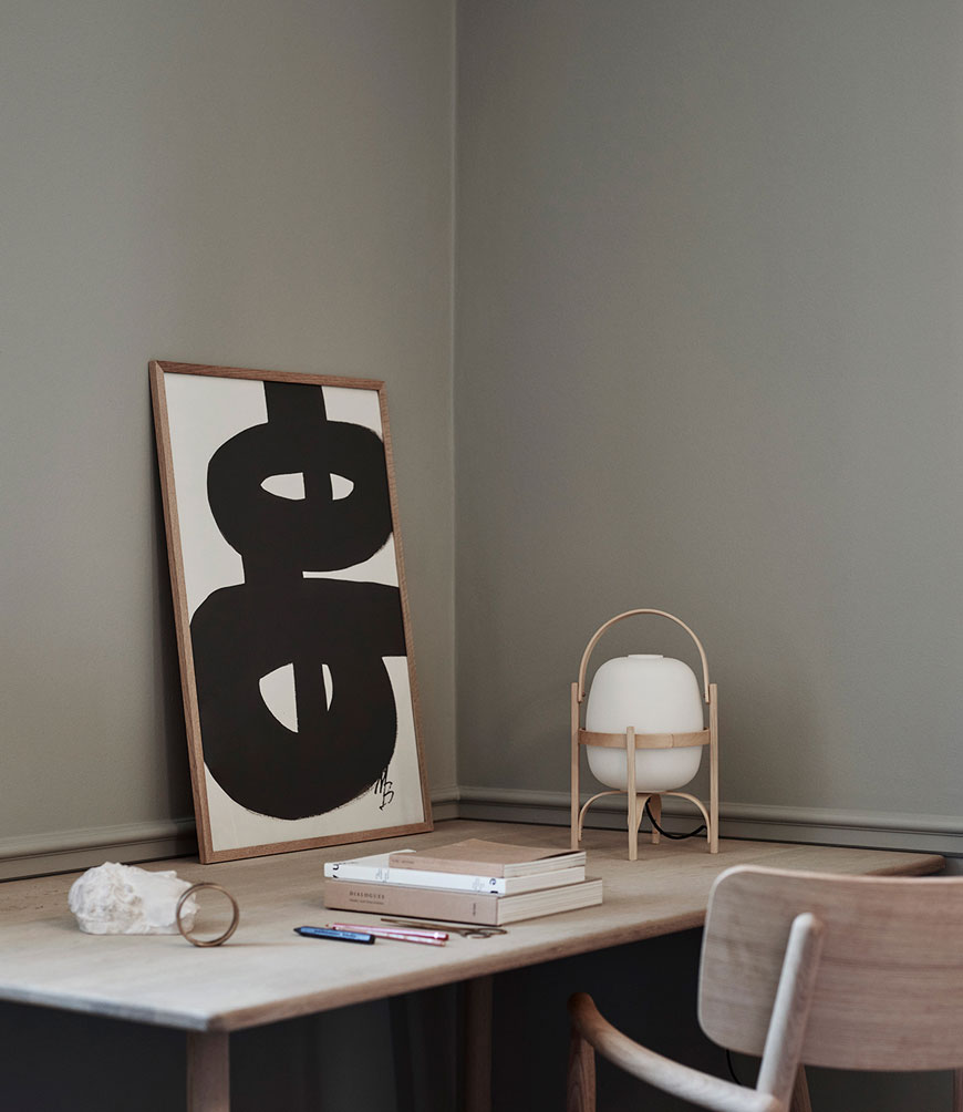 Chunky, monochrome abstract wall art sitting on a design, designed by Marlene Birger