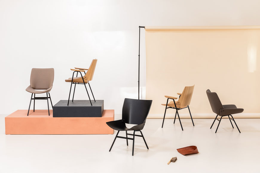 A selection of variations of the Shell Chair designed by Rex Kralj