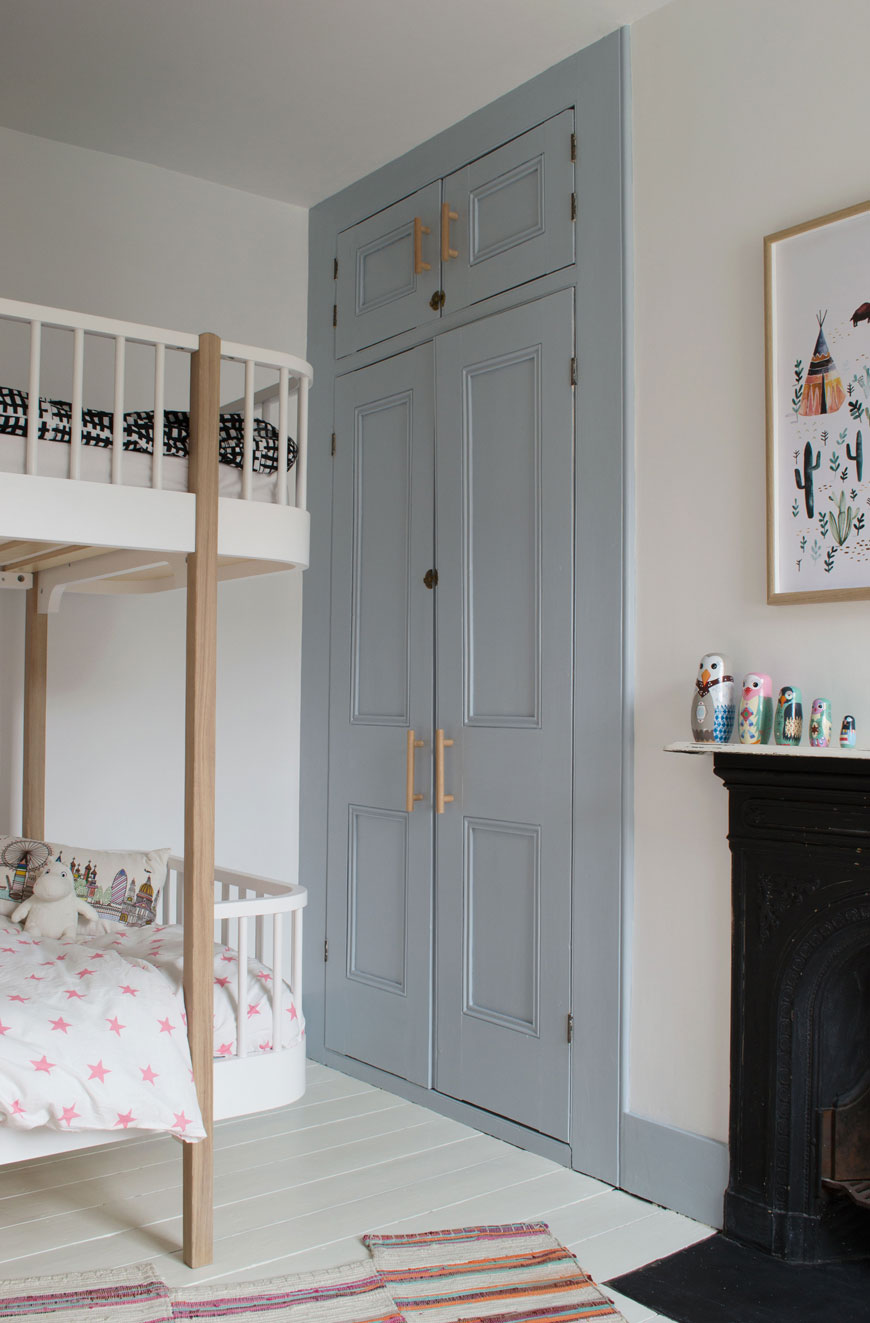 a modern, Scandinavian kids room in white and grey-blue, the first room completed in our slow decorating process