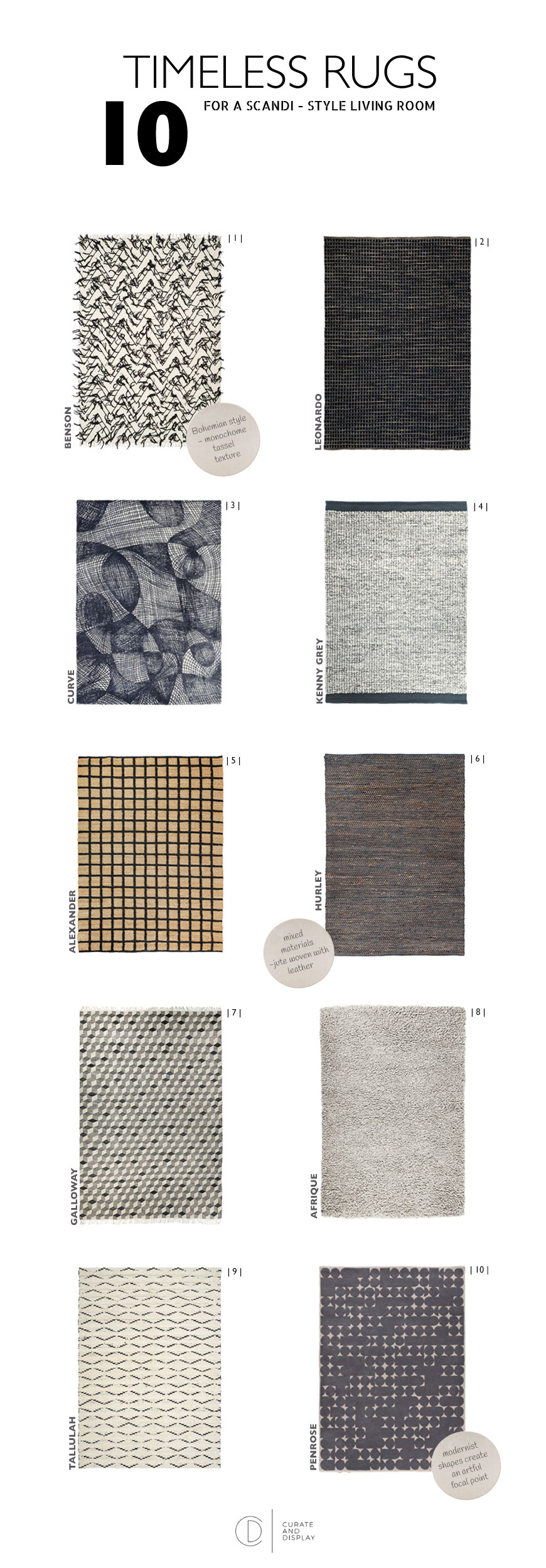 A shopping page for 10 timeless rugs for a Scandi-style living room.