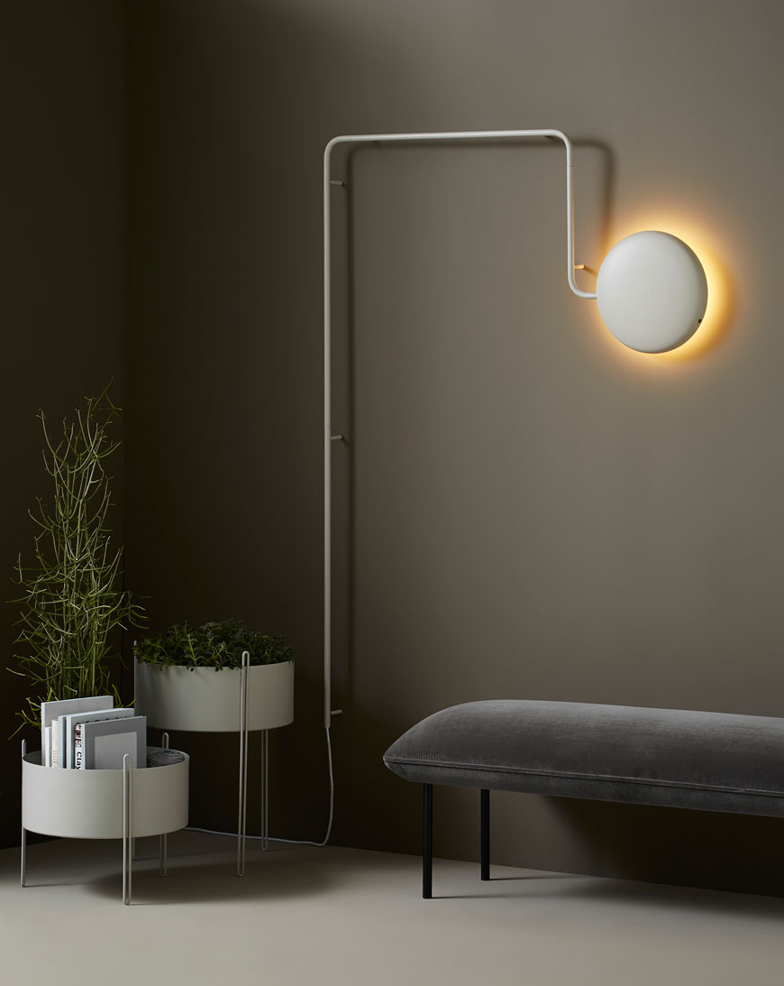 Nordic inspired contemporary planters and wall light designed for Scandi furniture brand Woud.