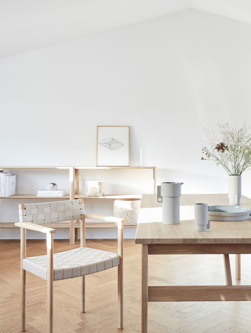 A white and light wood Scandinavian dining room created by Form & Refine at 3daysofdesign